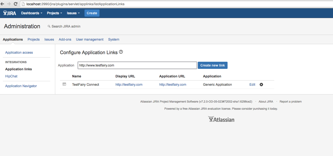 Create an Application Link